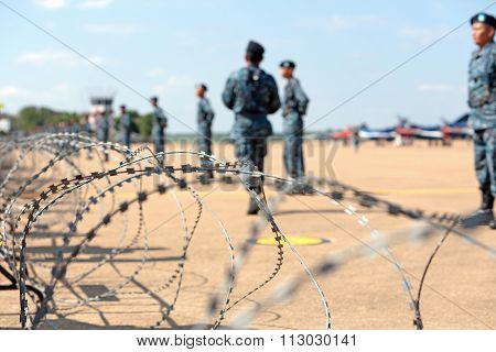 Nakhonratchasima, Thailand November 27, 2015 : Fence Of Soldier Protection The Country.