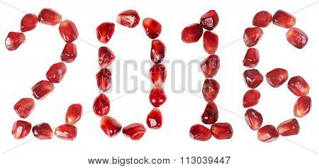 Happy New Year 2016. Word Of 2016 From The Seeds Of A Pomegranate Isolated On White