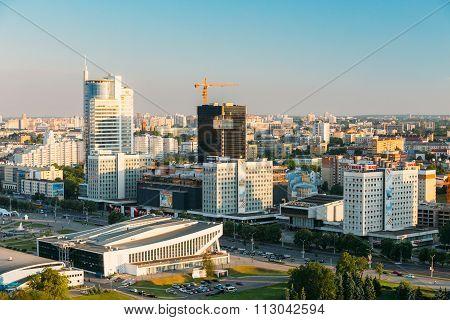 Cityscape and Pobediteley Avenue in Minsk, Belarus.