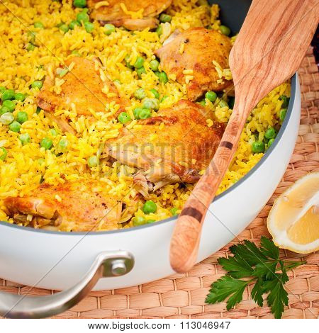 Chicken Thigh and Rice Biryani with Green Peas square poster