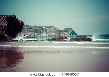 Beach Of Helgueras, Noja, Cantabria, Spain
