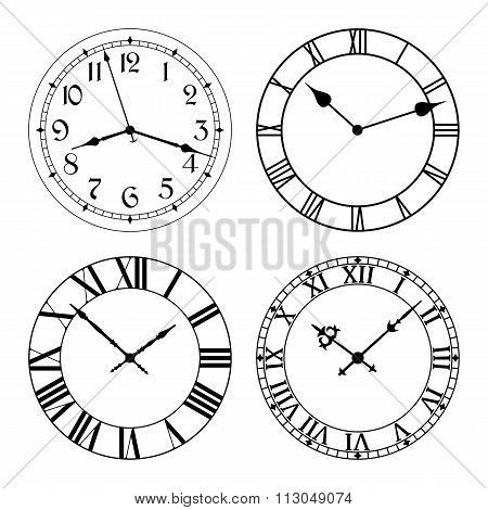 The set of different clock faces.