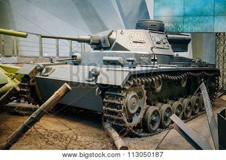 Panzer III tank used by Germany in World War II in Belarusian Mu