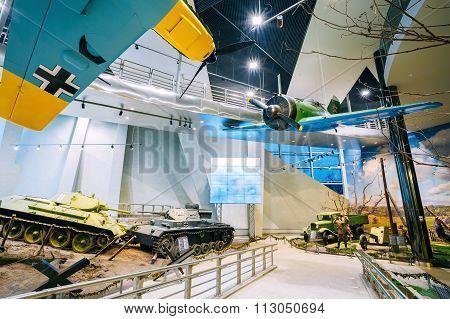Soviet russian medium tank T-34, German Panzer III and soviet fi