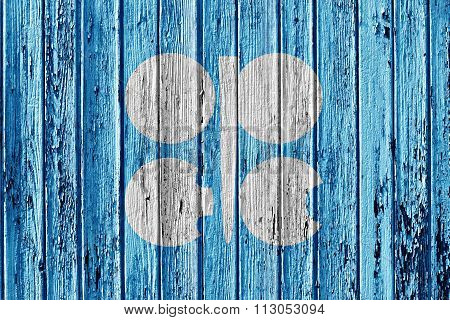 Flag Of Opec Painted On Wooden Frame