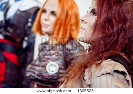 Saint Petersburg, RUSSIA - MAY 17, 2015: group of cosplayers sci-Fi series Defiance on 17 MAY 2015