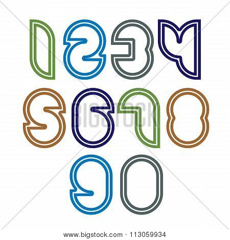 Bright Unusual Rounded Numbers, Colorful Extraordinary Numeration Isolated On White Background.