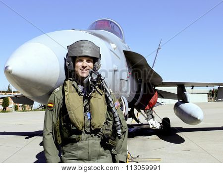 Fighter Pilot With His Jet