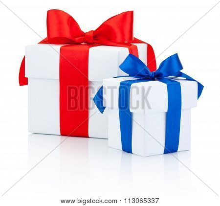 Two White Gift Box Tied Red And Blue Ribbon Isolated On White Background