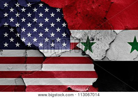 Flags Of Usa And Syria Painted On Cracked Wall