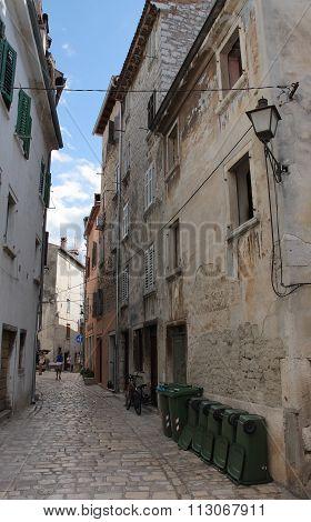 Lane In Rovinj In Croatia In The Summer Day