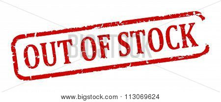 Damaged Oval Red Stamp With The Words - Out Of Stock - Illustration