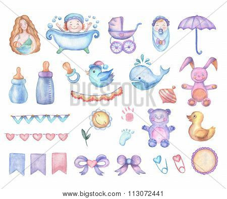 Watercolor baby shower set of design elements.