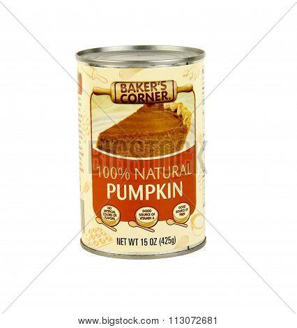 Can Of Baker's Corner Natural Pumpkin