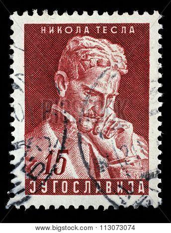 YUGOSLAVIA - CIRCA 1953: a stamp printed in the Yugoslavia shows Nikola Tesla, Inventor, 10th Anniversary of the Death, circa 1953