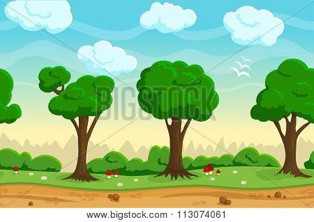 Seamless cartoon game landscape