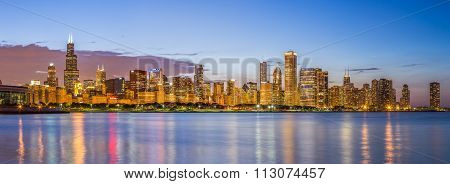 Chicago Downtown Skyline And Lake Michigan At Night