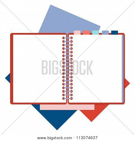 Flat design notepad and color sheets of paper