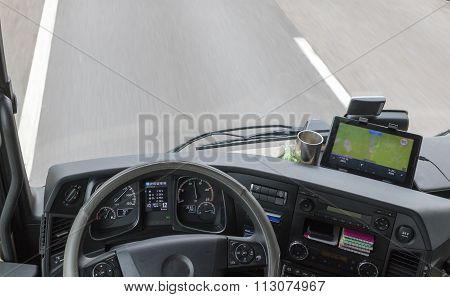 View From Above On Dashboard Of The Truck