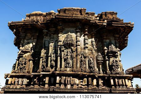 Artistic carvings on the walls of Chennakesava temple at Belur