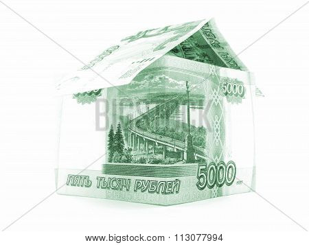 Green Russian Ruble House, Rouble Banknote Isolated On White Background