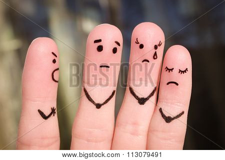 Finger art of people. The concept of a man scolds of people, and they upset. The boss berates his su