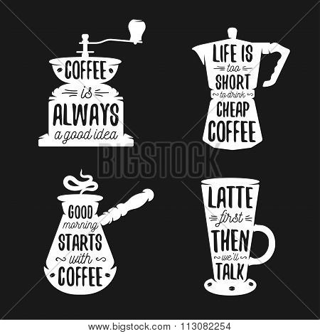 Hand drawn typography coffee related posters set.