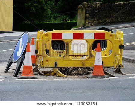roadworks traffic cones diversion sign street