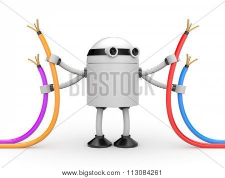 Robot with cables