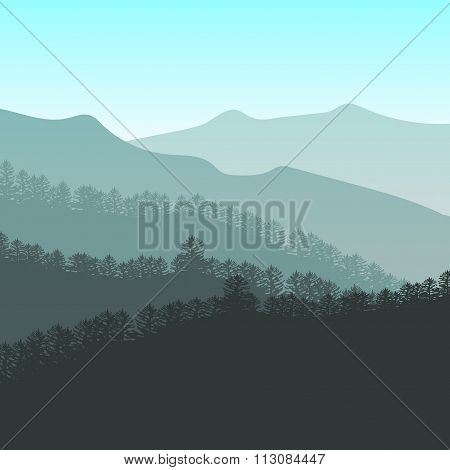 Panorama vector illustration of mountain ridges. Peaks, blue green hills, forest, clouds in the sky
