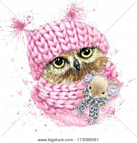 Cute owl T-shirt graphics, watercolor forest owl illustration