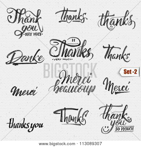Thank you, merci beaucoup, danke- typographic calligraphic lettering