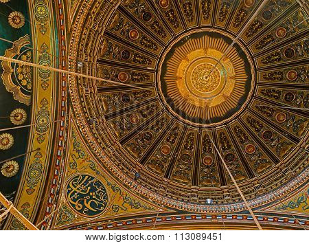 CAIRO, EGYPT - December 31 2016: Part Of The Ornamented Ceiling Of The Great Mosque Of Muhammad Ali