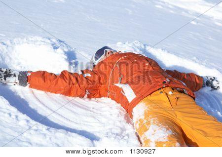 Snowboard Girl On Snow