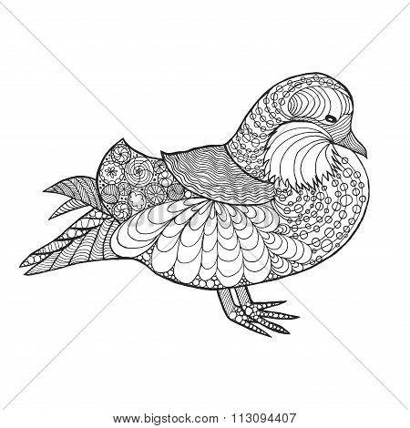 Zentangle stylized mandarine duck
