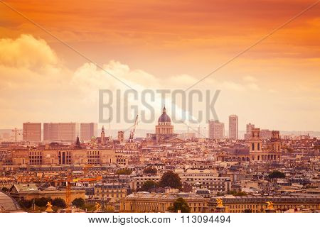 Panorama of Paris with the Pantheon, France