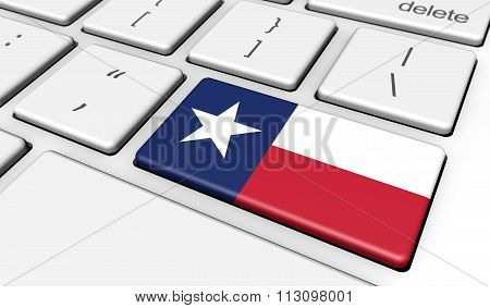 Texas Flag On Computer Key