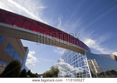 COLUMBUS, OHIO - AUGUST 22, 2015:  The Ohio State University Campus is a mix of old and new architecture.This Recreational and Physical Activity Center is located near the stadium.
