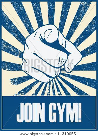 New year resolution motivation poster to join gym and do exercise, fitness.