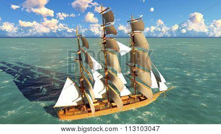 Ancient Pirate brigantine at sea