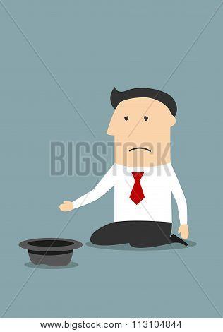 Bankrupt unhappy businessman begging money