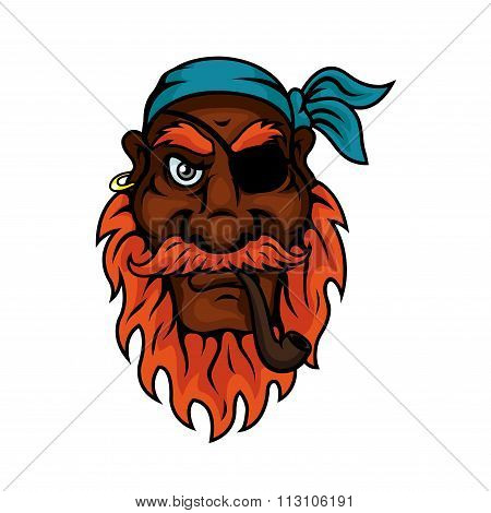 Old pirate with eye patch smoking pipe