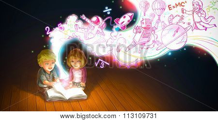 A Cute Cartoon Couple Of Caucasian Children Boy And Girl Are Reading Book On The Floor
