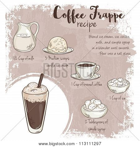 Vector Hand Drawn Illustration Of Coffee Frappe Recipe With List Of Ingredients