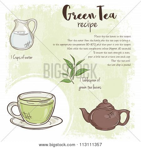Vector Hand Drawn Illustration Of Green Tea Recipe With List Of Ingredients