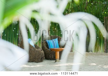 floral arrangements located on seats at a wedding ceremony poster