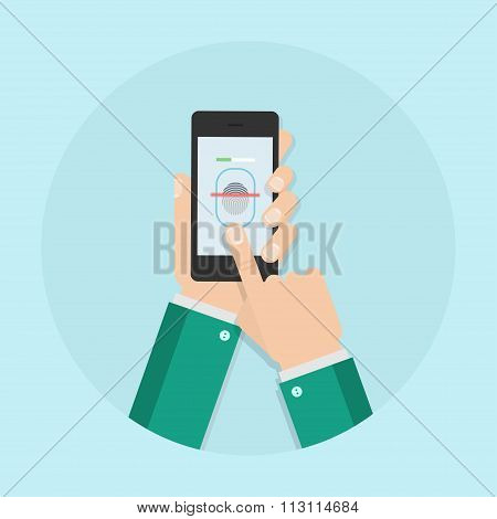 Fingerprint Scanning A Flat Vector Illustration