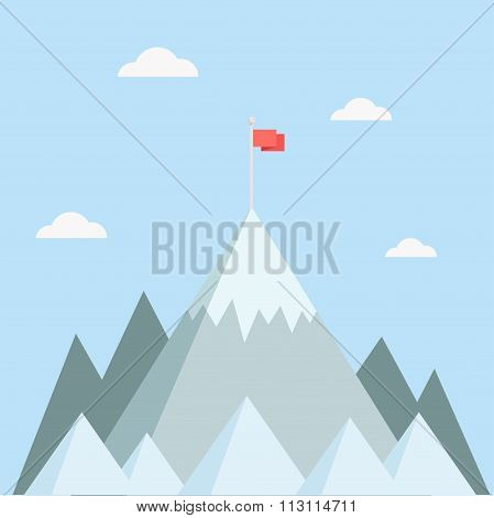 Mountain Peak With Flag Vector Illustration