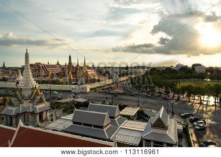 Bangkok City Pillars Shrine And Wat Phra Kaew In Thailand