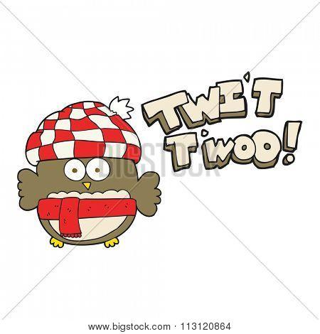 freehand drawn cartoon cute owl saying twit twoo